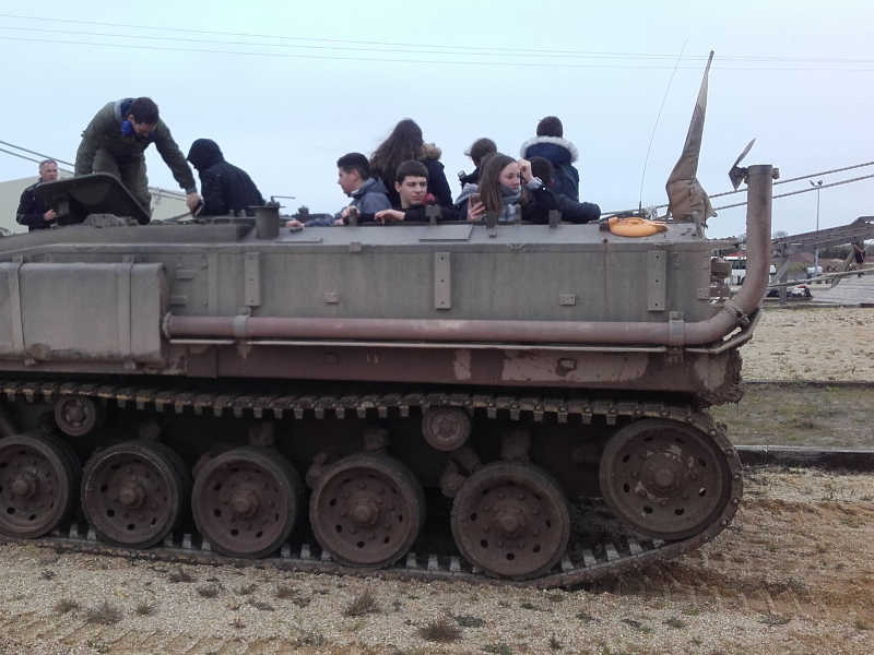 Tour in armored vehicle for troups transportation in our museum of carentan - Normandy - France usée de carentan