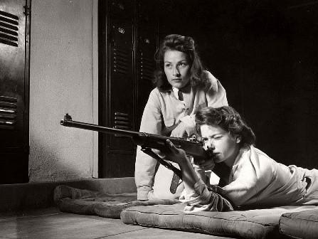 Roosevelt high school LA, women practice shooting
