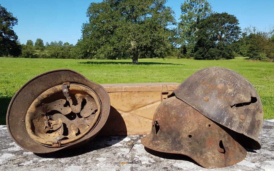 Three helmets found near Gavray in the Channel