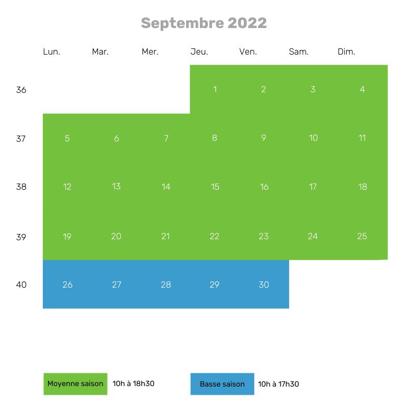 Septembre 22 - 10h à 18h30 puis 17h30